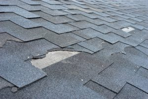 damaged and broken shingles